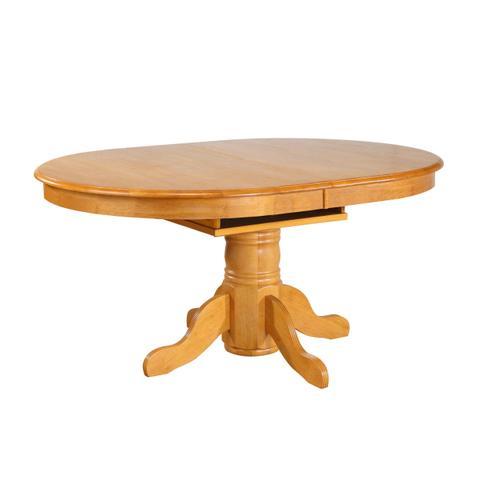 Pedestal Dining Table w/Butterfly Leaf - Light Oak Finish