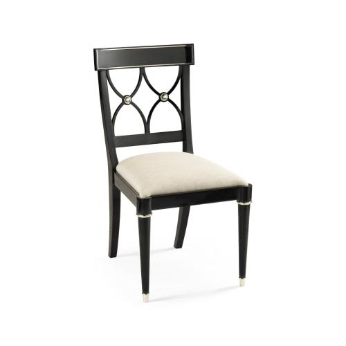 Madison Piano Black & White Brass Dining Side Chair, Upholstered in Skipper