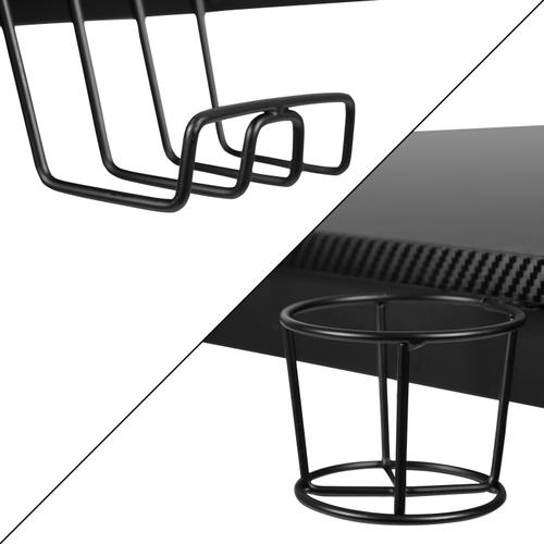Gallery - Black Gaming Desk with Cup Holder\/Headphone Hook\/2 Wire Management Holes & Black Reclining Back\/Arms Gaming Chair with Footrest