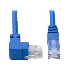 Up-Angle Cat6 Gigabit Molded UTP Ethernet Cable (RJ45 Right-Angle Up M to RJ45 M), Blue, 1 ft. (0.31 m)