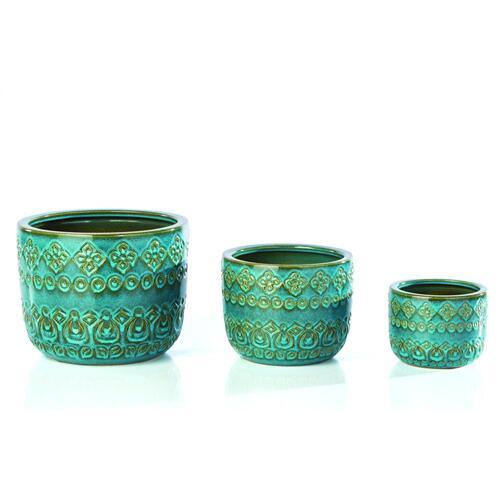 Namaste Cachepot w/ drainhole and plug - Set of 3