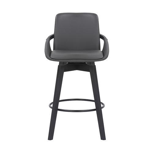 "Baylor 26"" Counter Height Swivel Barstool with Black Finish and Gray Faux Leather"