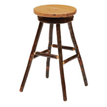 "Round Barstool - 30"" high - Natural Hickory - Wood Seat"