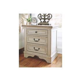 Realyn Three Drawer Night Stand Chipped White