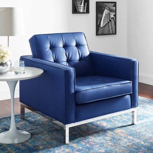 Loft Tufted Upholstered Faux Leather Armchair in Silver Navy