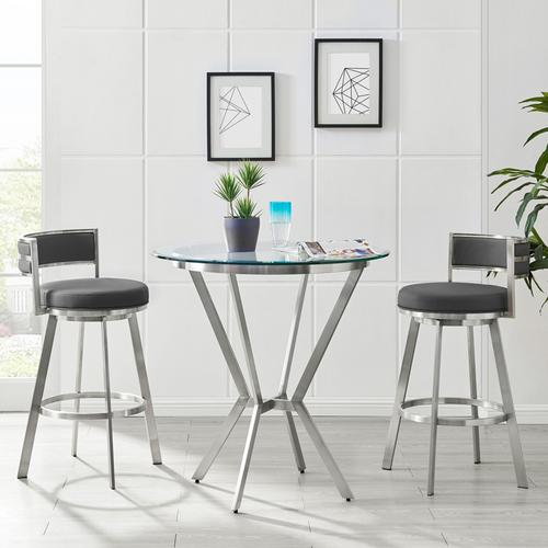 """Armen Living - Roman 30"""" Gray Faux Leather and Brushed Stainless Steel Swivel Bar Stool"""