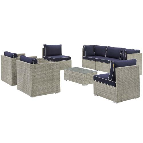 Modway - Repose 8 Piece Outdoor Patio Sectional Set in Light Gray Navy