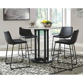 Centiar Counter Height Table & 4 Barstools Two-Tone Black