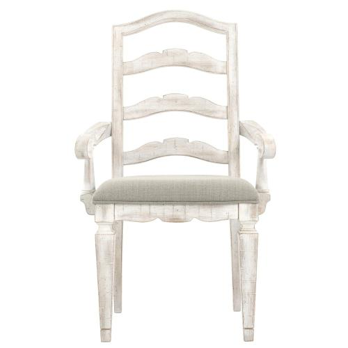 Madison - Upholstered Ladderback Arm Chair - Rustic White Finish