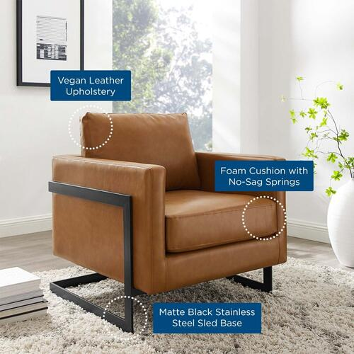 Posse Vegan Leather Accent Chair in Black Tan