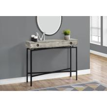 """ACCENT TABLE - 42""""L / GREY RECLAIMED WOOD / BLACK CONSOLE"""