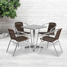 See Details - 23.5'' Square Aluminum Indoor-Outdoor Table Set with 4 Dark Brown Rattan Chairs