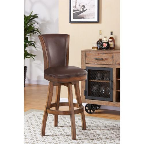 """Armen Living Raleigh 26"""" Counter Height Swivel Wood Barstool in Chestnut Finish and Kahlua Faux Leather"""
