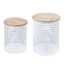 See Details - White Woven Base Nested Side Table (2 pc. set)
