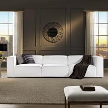 Mingle 3 Piece Upholstered Fabric Sectional Sofa Set in White