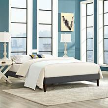 View Product - Tessie King Fabric Bed Frame with Squared Tapered Legs in Gray