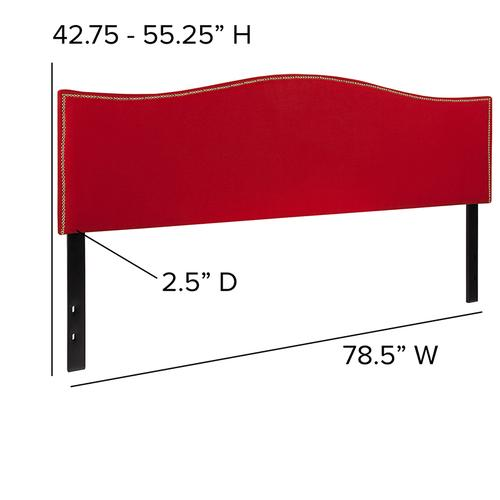 Flash Furniture - Lexington Upholstered King Size Headboard with Accent Nail Trim in Red Fabric