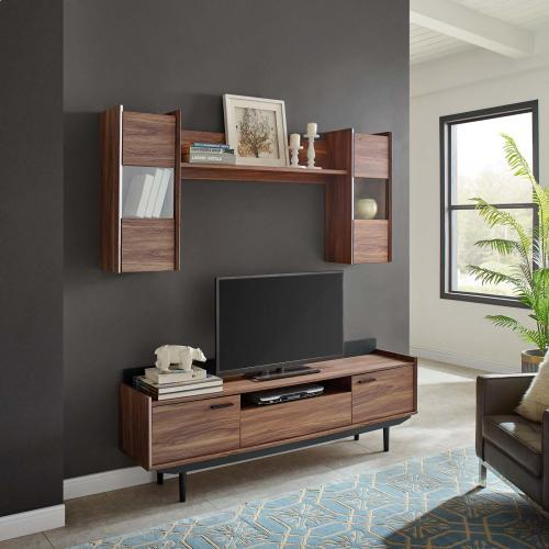 Visionary 2 Piece Entertainment Center in Walnut Black