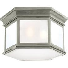 Visual Comfort CHC4126AN-FG E. F. Chapman Club 3 Light 16 inch Antique Nickel Flush Mount Ceiling Light in Frosted Glass