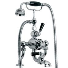 Exposed black lever thermostatic bath and shower valve with cradle and Classic handset (available wall or deck mounted)