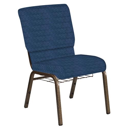 Flash Furniture - 18.5''W Church Chair in Arches Navy Fabric with Book Rack - Gold Vein Frame