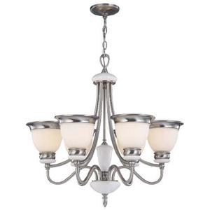 6-lite Ceiling Lamp, Ps/frost Glass Shade, Type A 60wx6