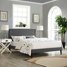 View Product - Ruthie Queen Fabric Platform Bed with Squared Tapered Legs in Gray