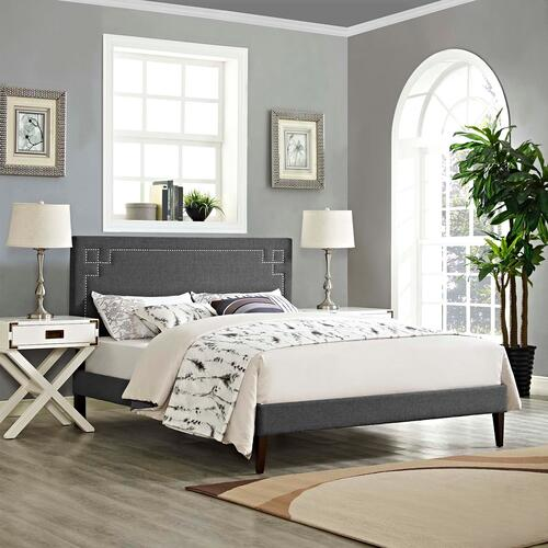 Modway - Ruthie Queen Fabric Platform Bed with Squared Tapered Legs in Gray