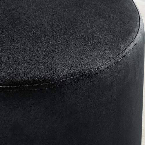 Opus Round Ottoman in Black/Silver