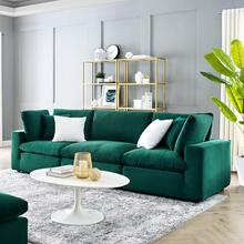 Commix Down Filled Overstuffed Performance Velvet 3-Seater Sofa in Green