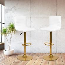 Modern White Vinyl Adjustable Bar Stool with Back, Counter Height Swivel Stool with Gold Pedestal Base, Set of 2