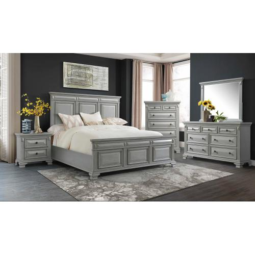 Calloway Grey Bedroom - Queen Bed, Dresser, Mirror, Chest, and Night Stand