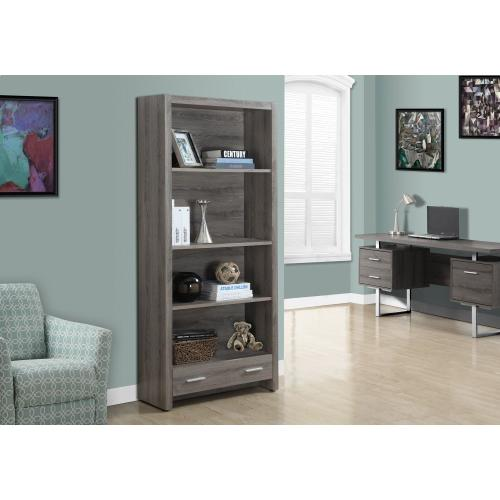 """Gallery - BOOKCASE - 71""""H / DARK TAUPE WITH A STORAGE DRAWER"""