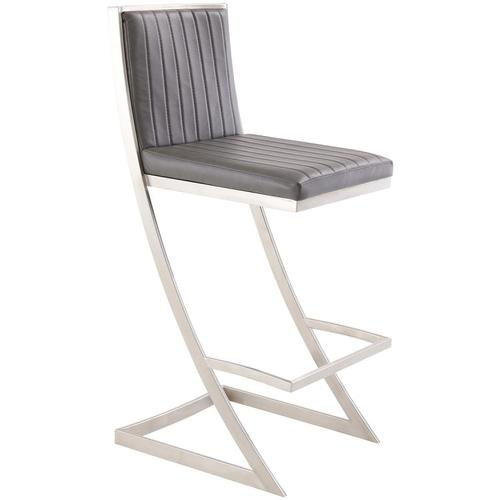 """Armen Living - Marc 30"""" Bar Height Barstool with Brushed Stainless Steel Finish and Vintage Grey Faux Leather"""