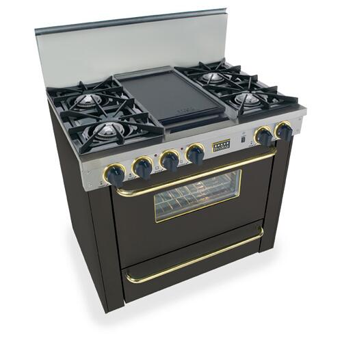 """36"""" All Gas Range, Open Burners, Black with Brass"""