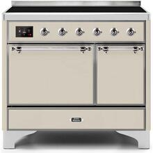 View Product - Majestic II 40 Inch Electric Freestanding Range in Antique White with Chrome Trim