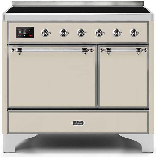 Ilve - Majestic II 40 Inch Electric Freestanding Range in Antique White with Chrome Trim