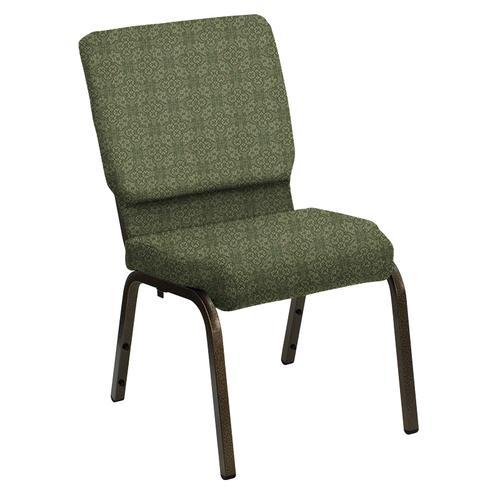 Flash Furniture - HERCULES Series 18.5''W Church Chair in Faith Herb Fabric - Gold Vein Frame