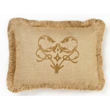 Brown Damask Burlap Pillow