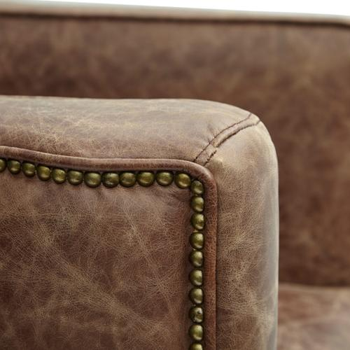 Channel Tufted Sheltered Leather Chair in Mocha Brown