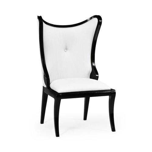 """Black Painted """"Butterfly"""" Upholstered Side Chair - COM"""