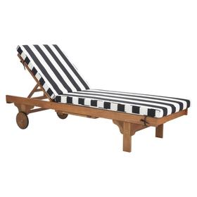 Newport Chaise Lounge Chair With Side Table - Natural / Black / White
