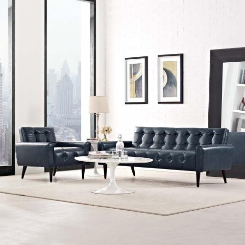 Delve 2 Piece Upholstered Vinyl Sofa and Armchair Set in Blue