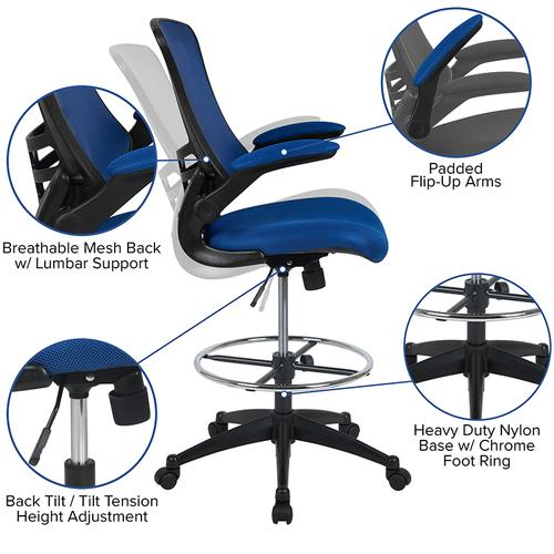 Gallery - Mid-Back Blue Mesh Ergonomic Drafting Chair with Adjustable Foot Ring and Flip-Up Arms