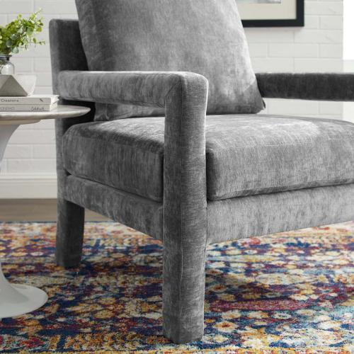 Rehearse Crushed Performance Velvet Armchair in Gray