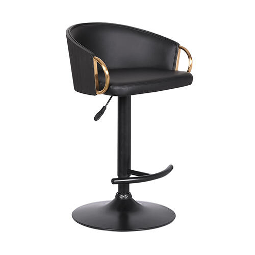 Solstice Adjustable Black Faux Leather Swivel Barrstool With Black Powder Coated Finish and Gold Accents