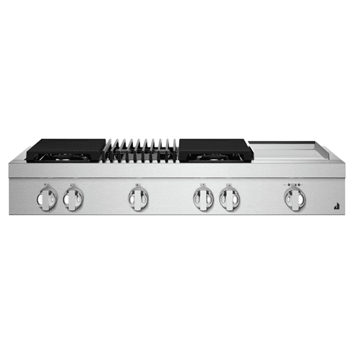 """48"""" NOIR™ Gas Professional-Style Rangetop with Chrome-Infused Griddle and Gas Grill"""