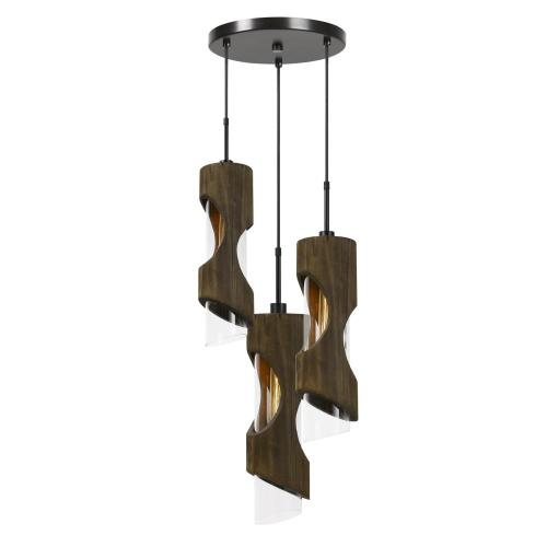 60W X 3 Zamora 3 Light Wood Pendant With Clear Glass Shade (Edison Bulbs Not included)