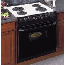"""See Details - GE® 30"""" Drop-In Electric Range with Self-Cleaning Oven and Black Glass Oven Door"""