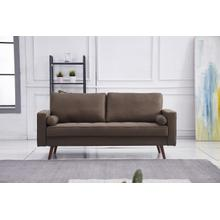 See Details - 8115 BROWN Linen Stationary Sofa